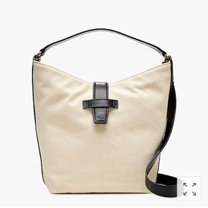 NWT J CREW canvas and black Italian leather bag